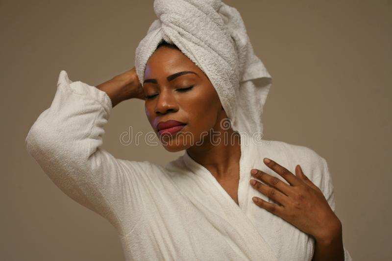 Portrait of beautiful African woman after bathing. stock photos
