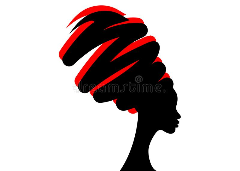 Portrait beautiful African woman in traditional turban, black women silhouette isolated , hairstyle concept.  stock illustration