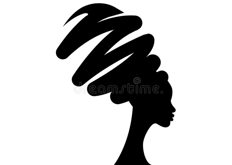 Portrait beautiful African woman in traditional turban, black women silhouette isolated , hairstyle concept.  royalty free illustration