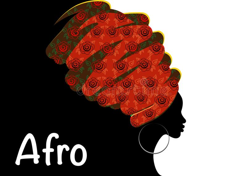 Portrait beautiful African woman in traditional turban, black women silhouette. Portrait beautiful African woman in traditional turban, Kente head wrap African stock illustration
