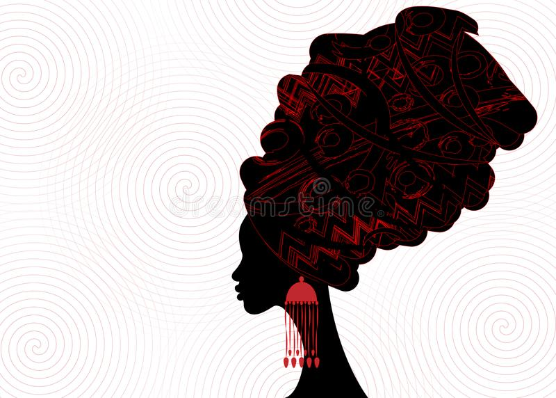 Portrait beautiful African woman in traditional turban, Kente head wrap African, dashiki printing, black afro women vector. Silhouette with African earring vector illustration