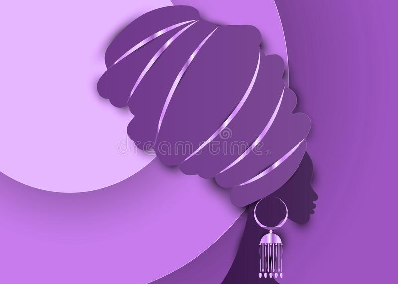 Portrait beautiful African woman in traditional turban, Kente head wrap African, Traditional dashiki printing, black women vector. Silhouette with traditional vector illustration