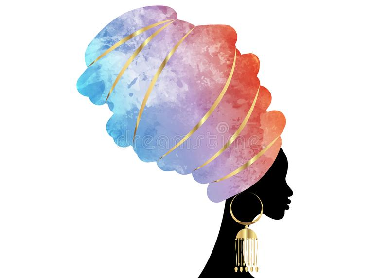 Portrait beautiful African woman in traditional turban, Kente head wrap African, Traditional dashiki printing, black women vector. Silhouette isolated with stock illustration