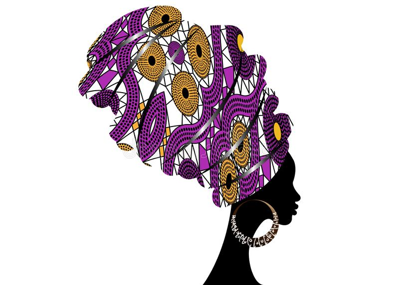 Portrait beautiful African woman in traditional turban, Kente head wrap African, Traditional dashiki printing, black women vector. Silhouette isolated with vector illustration