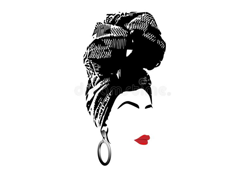 Portrait beautiful African woman in traditional turban, Kente head wrap, dashiki printing, Afro women scarf vector silhouette. African scarf, portrait Afro woman royalty free illustration