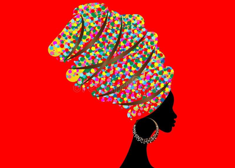 Portrait beautiful African woman in traditional turban, Kente head wrap African, Traditional dashiki printing, black Afro women. Portrait beautiful African woman vector illustration