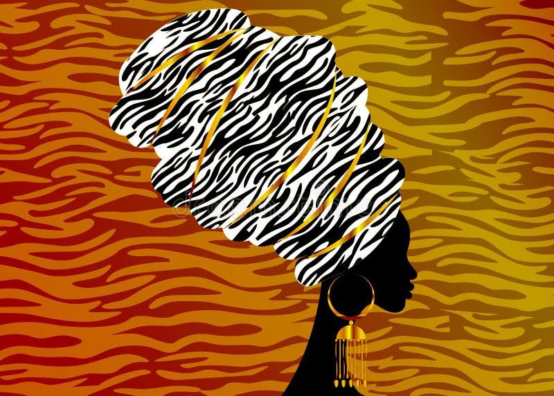 Portrait beautiful African woman in traditional turban, Kente head wrap, dashiki printing, black afro women. Vector silhouette Africa batik ethnic zebra stock illustration