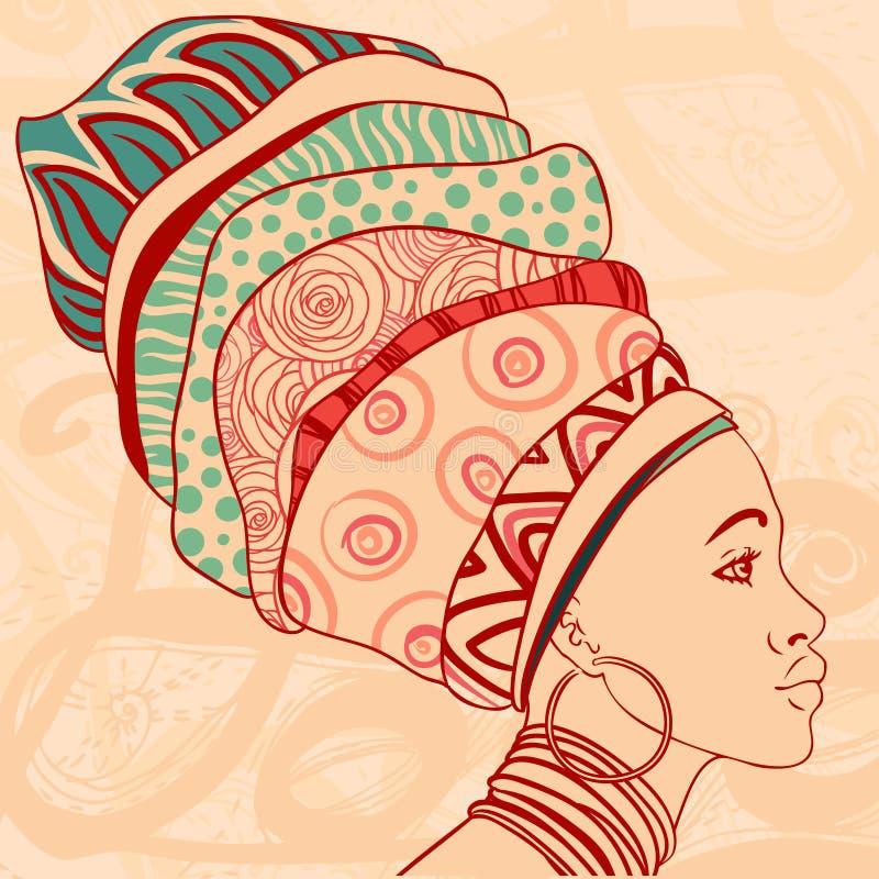 Portrait of beautiful African woman in turban vector illustration