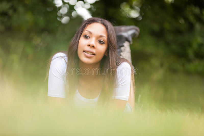 Portrait of a beautiful african young woman outdoors stock photos