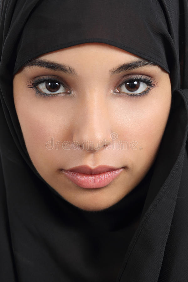 Portrait of a beautiful arab woman face with a black scarf royalty free stock photo
