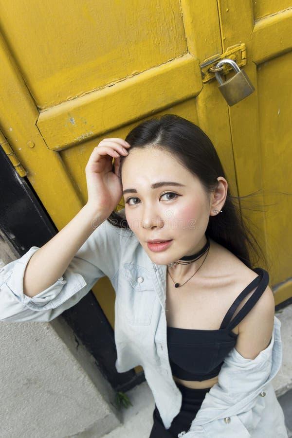 Portrait of a beautiful asian girl stock photos