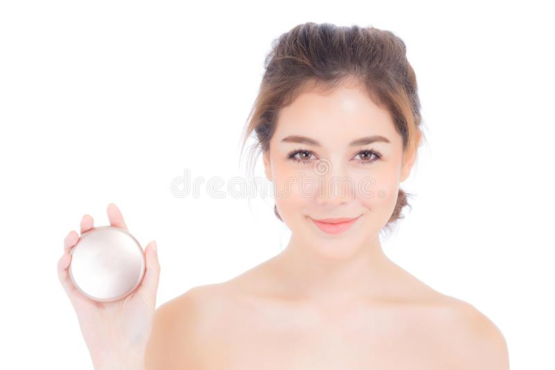 Portrait of beautiful asian woman applying powder puff at cheek makeup of cosmetic, beauty of girl with face smile isolated stock images