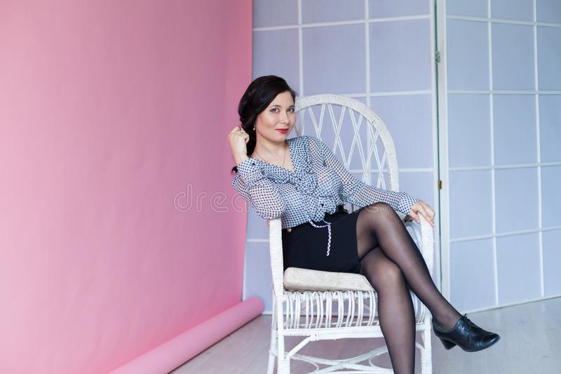 Portrait of a beautiful Asian woman in business clothes royalty free stock photography