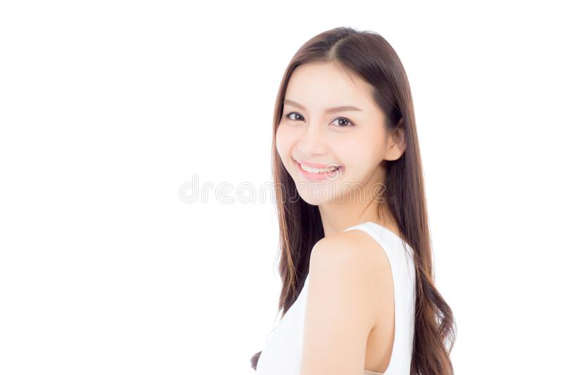 Portrait of beautiful asian woman makeup of cosmetic royalty free stock photography