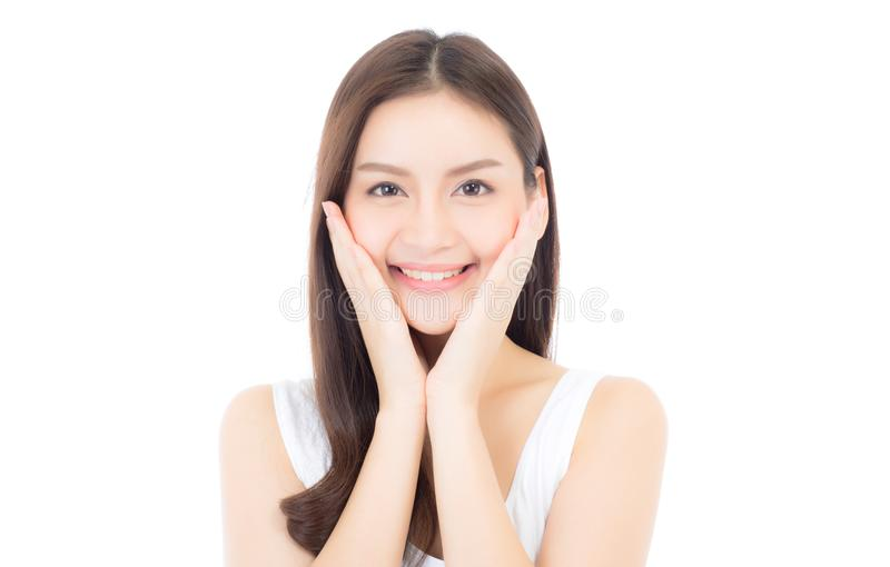 Portrait of beautiful asian woman makeup of cosmetic royalty free stock photo