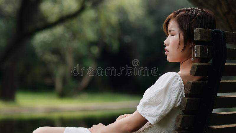 Portrait of beautiful Asian woman sitting on bench in summer forest, Chinese girl in white dress sleeping with eyes closed stock image