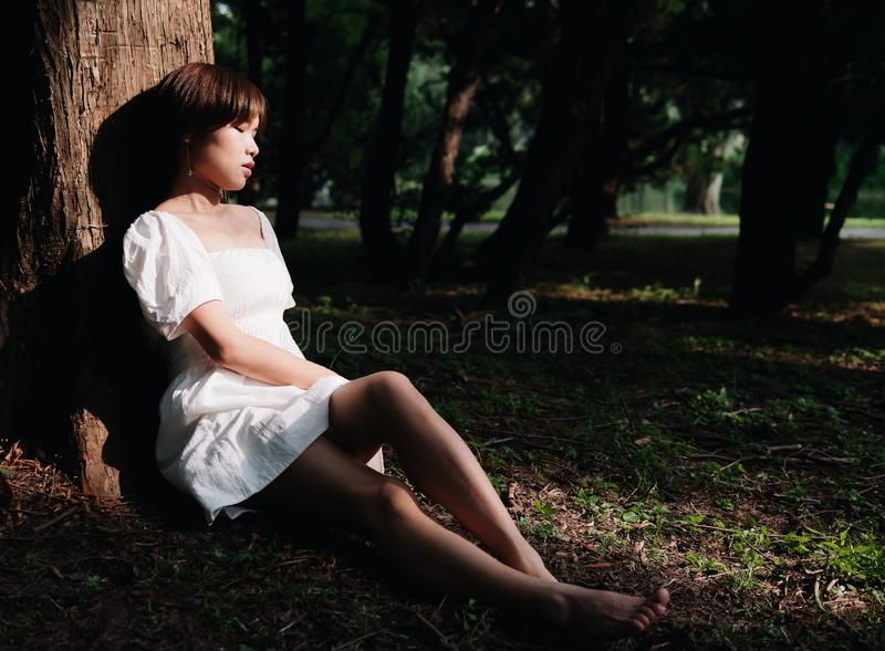 Portrait of beautiful Asian woman sitting under tree in summer forest, Chinese girl in white dress sleeping with eyes closed stock image