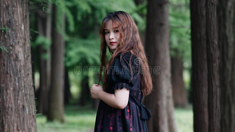 Portrait of beautiful Asian woman standing in summer forest, Chinese girl in vintage black dress looking at camera stock photography
