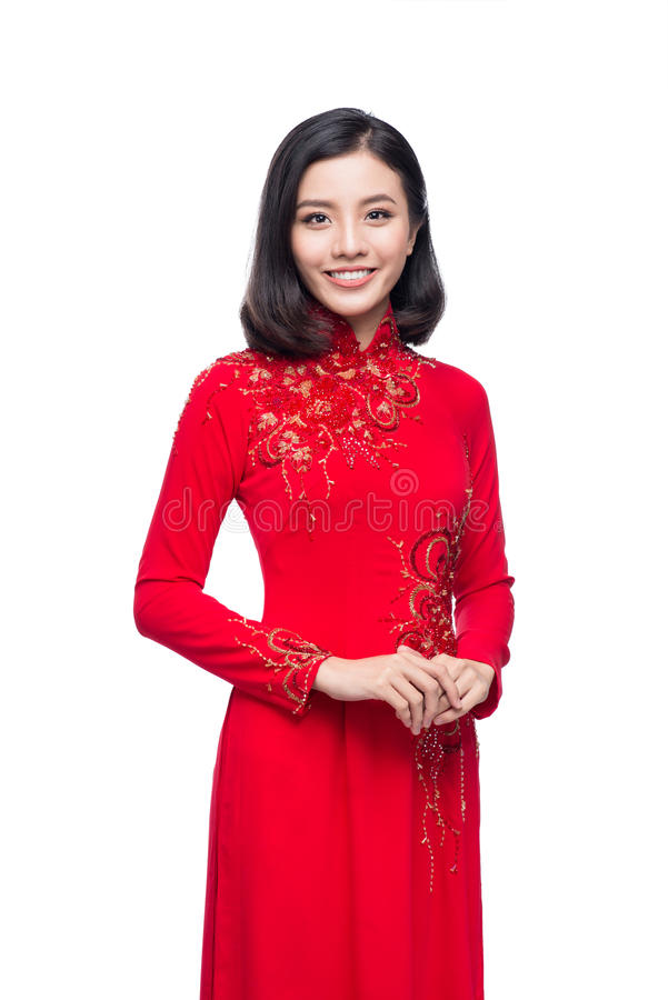 Portrait of a beautiful Asian woman on traditional festival cost royalty free stock photography