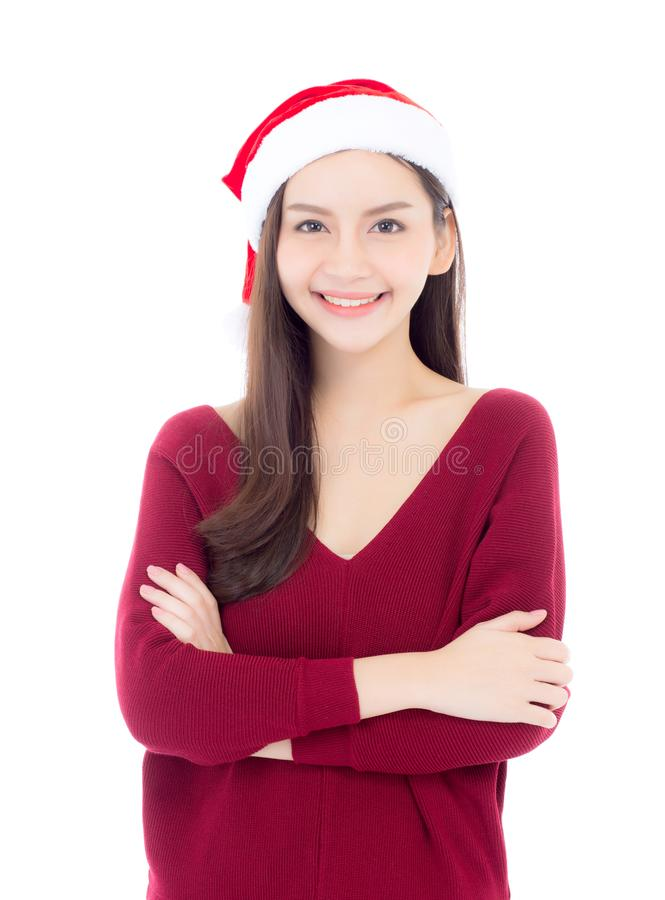 Portrait of beautiful asian young woman with health in santa hat. Smile and happy, girl model isolated on white background, christmas and holiday concept stock images