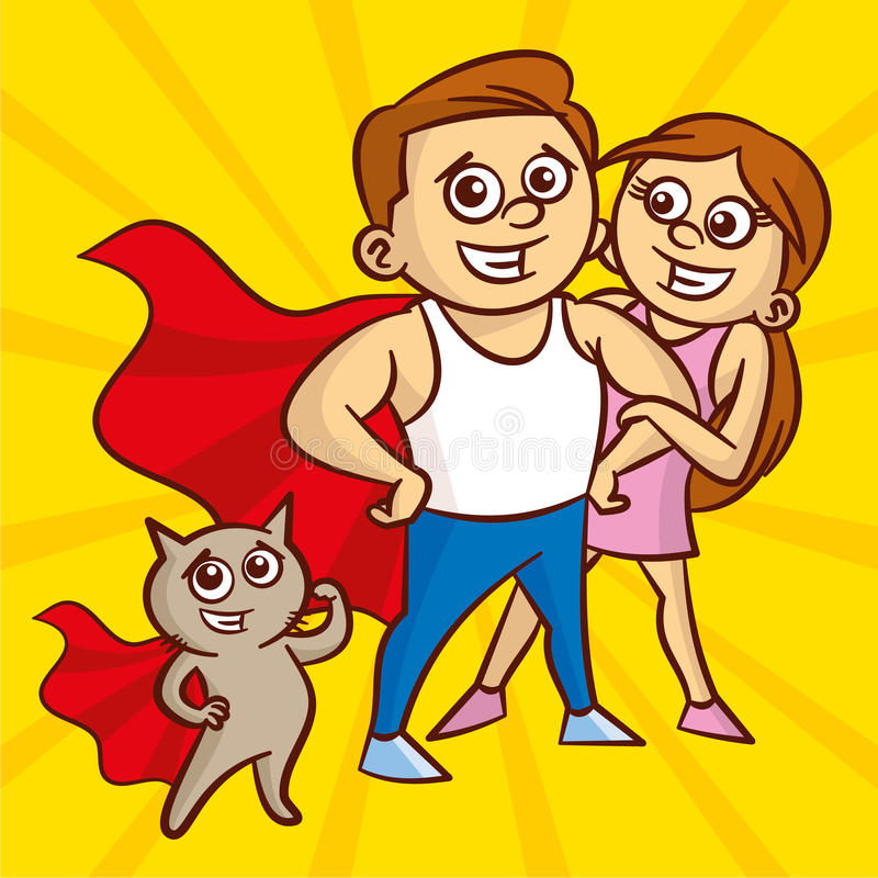 Portrait of beautiful athletic couple. Man and cat in a superhero cloak vector illustration
