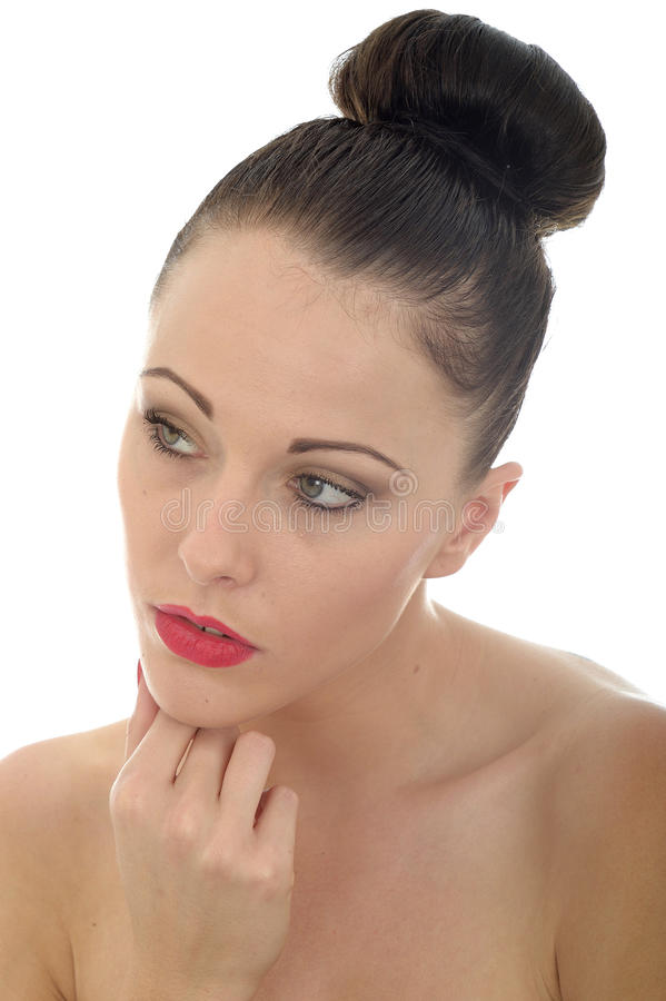 Portrait Of A Beautiful Attractive Young Thoughtful Caucasian Woman Concentrating And Looking Interested stock photos