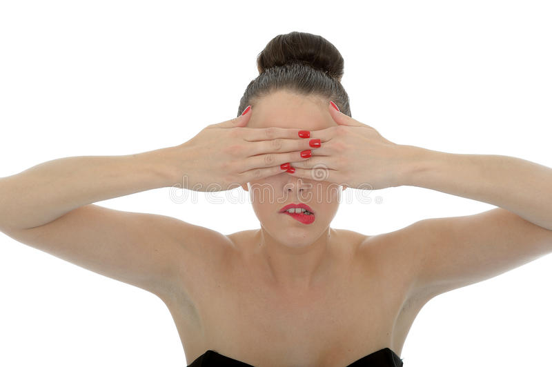 Portrait Of A Beautiful Attractive Young Woman Covering Her Eyes royalty free stock photos