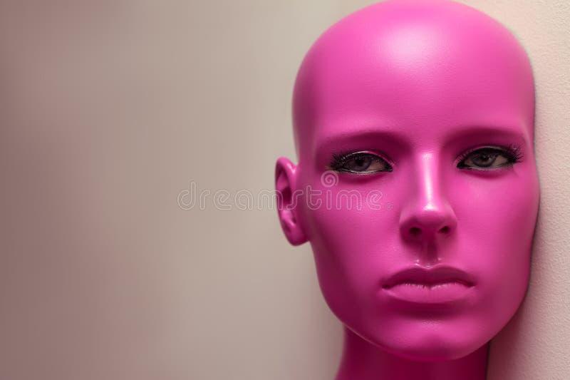 Portrait beautiful bald woman mannequin closeup royalty free stock photos
