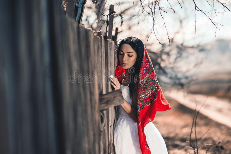 Portrait of a Beautiful black haired girl in a white vintage dress standing near wood fence.Young woman model posing in a russian stock photo