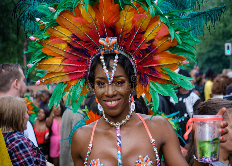 Portrait of a beautiful black woman wearing costume on Karneval. Berlin, Germany - june 04, 2017: Portrait of a beautiful black woman wearing costume on Karneval royalty free stock photography