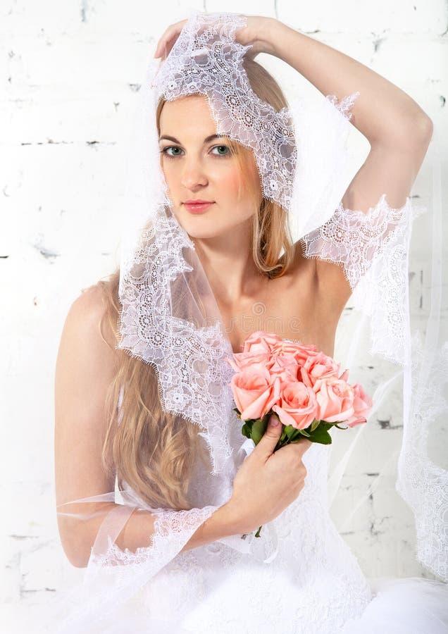Portrait Of A Beautiful Blond Bride Stock Photos