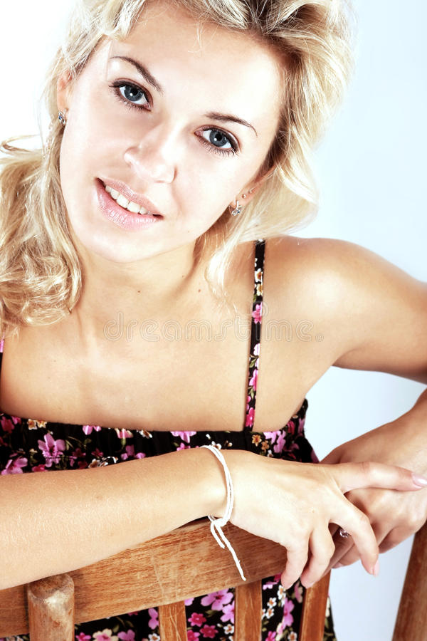 Portrait of a beautiful blond woman royalty free stock photos