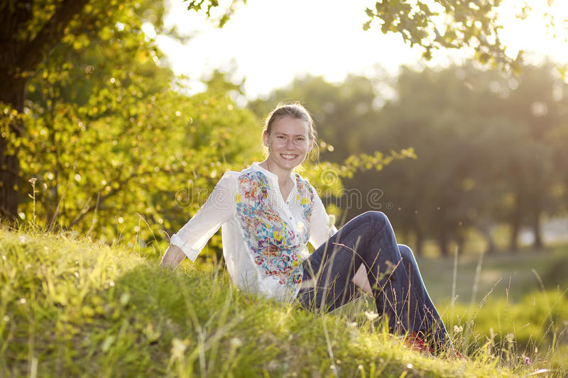 Download Portrait Of Beautiful Blond Woman Stock Photo - Image of field, green: 26913512