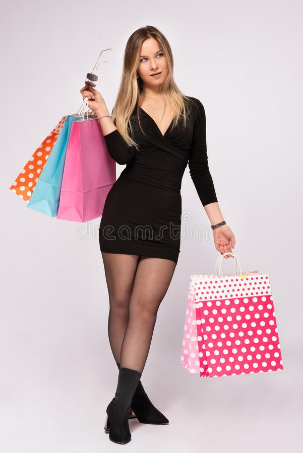 Portrait of Beautiful Blond Woman, Shopping Concept royalty free stock images