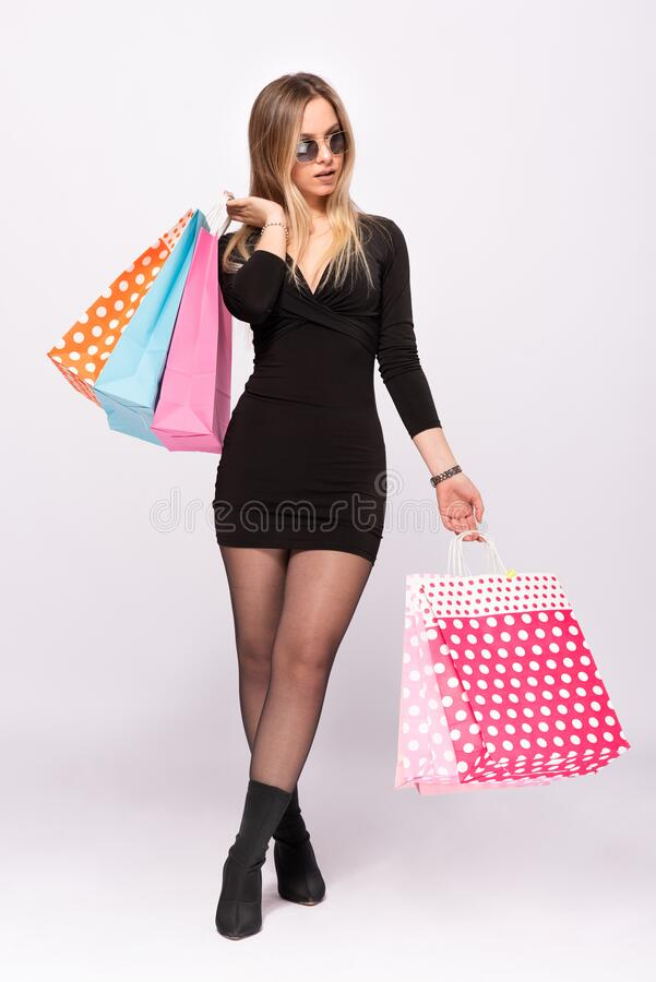 Portrait of Beautiful Blond Woman, Shopping Concept royalty free stock image