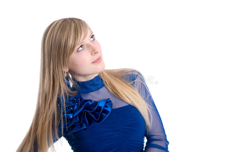 Portrait of the beautiful blonde. Looking off in thought - expression series - thinking stock images