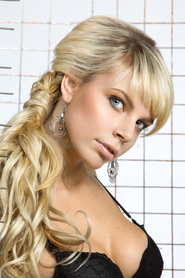 Portrait of a beautiful blonde royalty free stock photography
