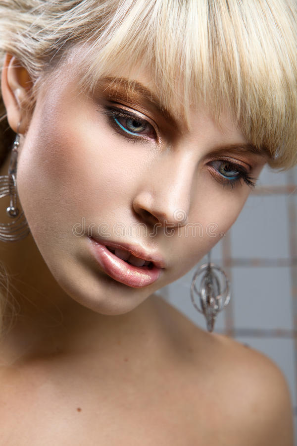 Portrait of a beautiful blonde stock images