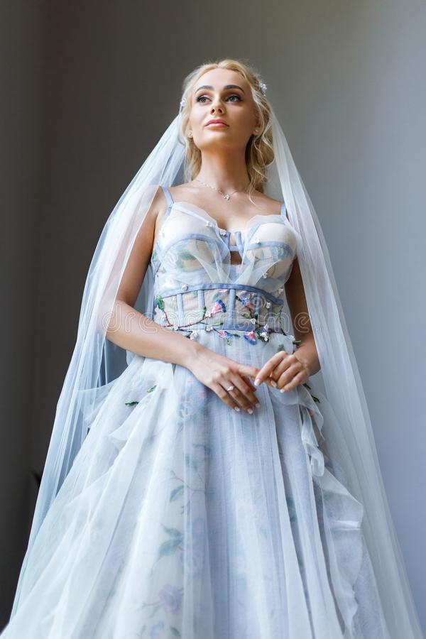 Portrait of the beautiful blonde bride royalty free stock photography