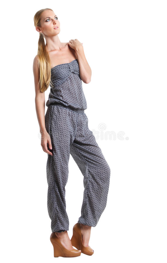 Download Portrait Of The Beautiful Blonde Girl In Overalls Stock Image - Image of stylish, white: 26495297