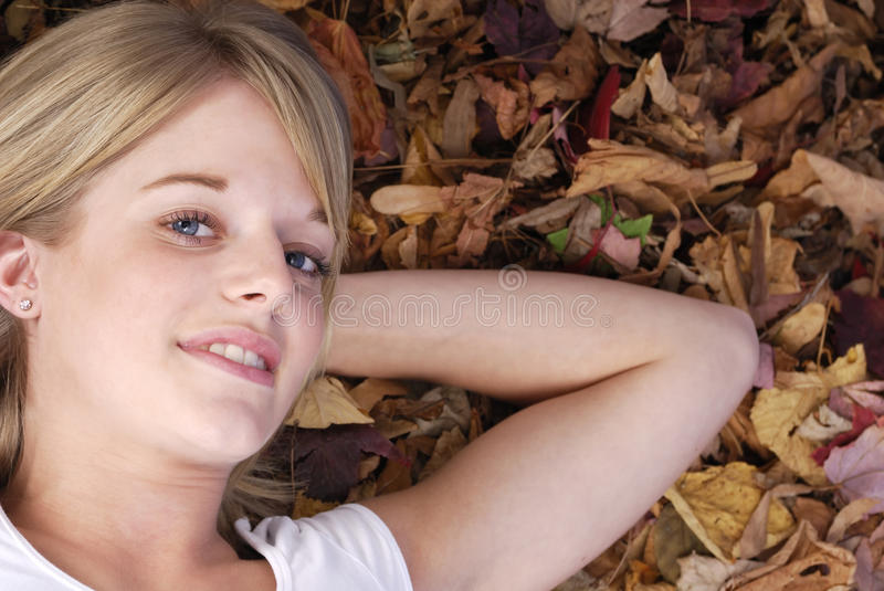 Download Portrait Of Beautiful Blonde Lying In Autumn Leave Stock Image - Image of beautiful, leaves: 11282441