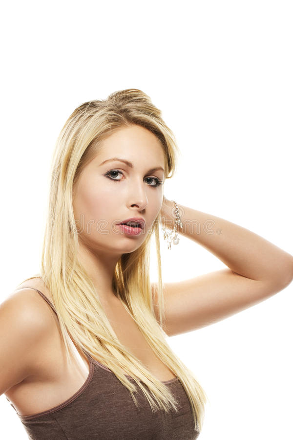 Portrait of a beautiful blonde woman stock photography