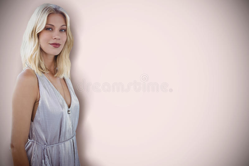 Composite image of portrait of beautiful blonde women royalty free stock image