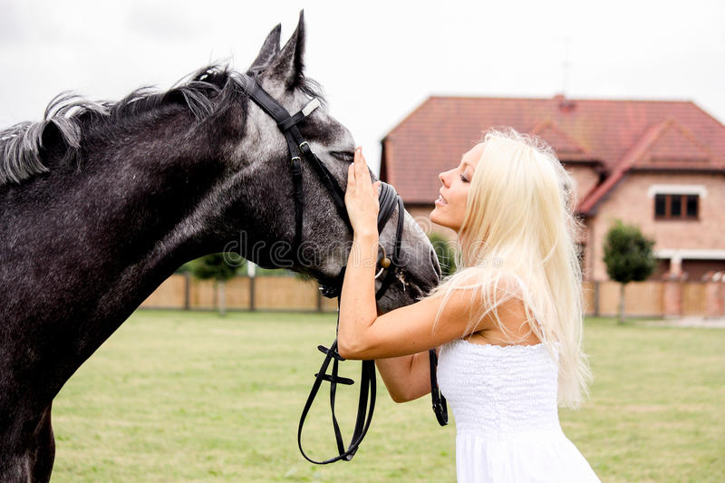 Portrait of beautiful blonde woman and gray horse at the wedding royalty free stock photography