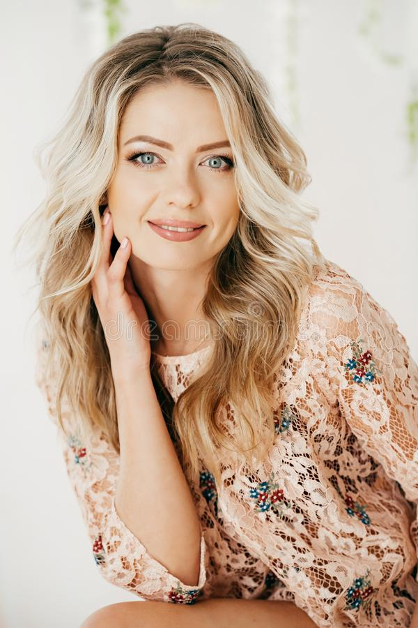 Portrait of beautiful blonde woman with makeu royalty free stock photos