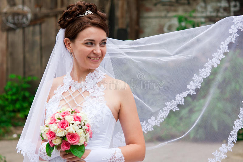 Portrait of a beautiful bride. In a veil royalty free stock photography