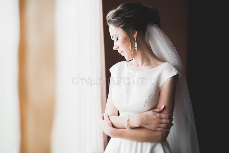 Portrait of beautiful bride with fashion veil at wedding morning.  royalty free stock photos