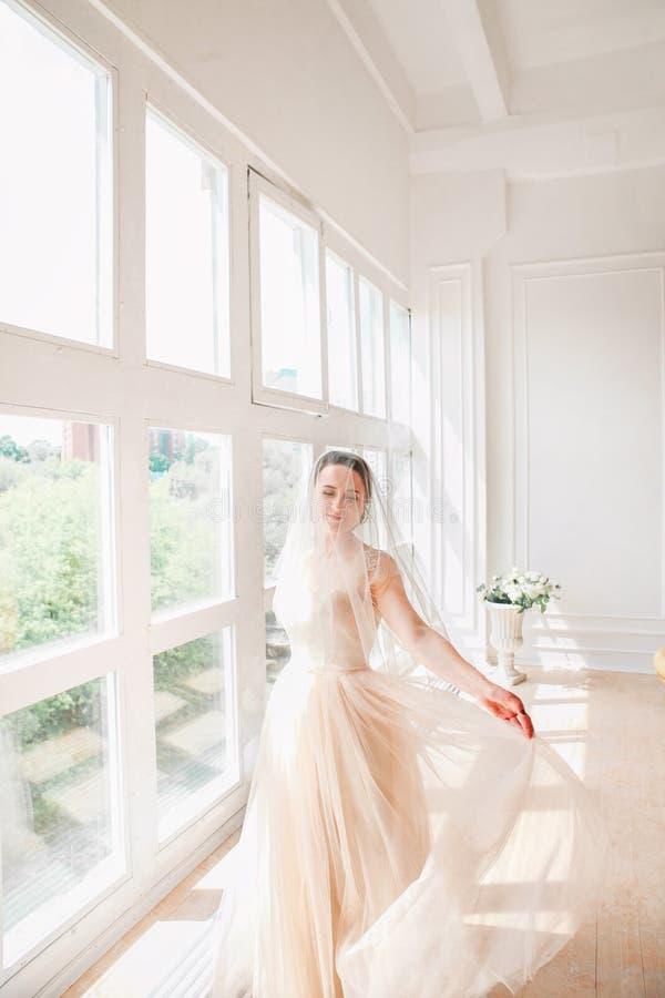 Portrait of beautiful bride indoor. Fashion bride girl in gorgeous wedding dress in studio. Happy bride spinning around with veil stock photo