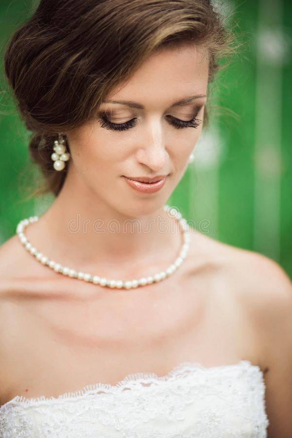 Portrait of a beautiful bride ready for a ceremony royalty free stock images