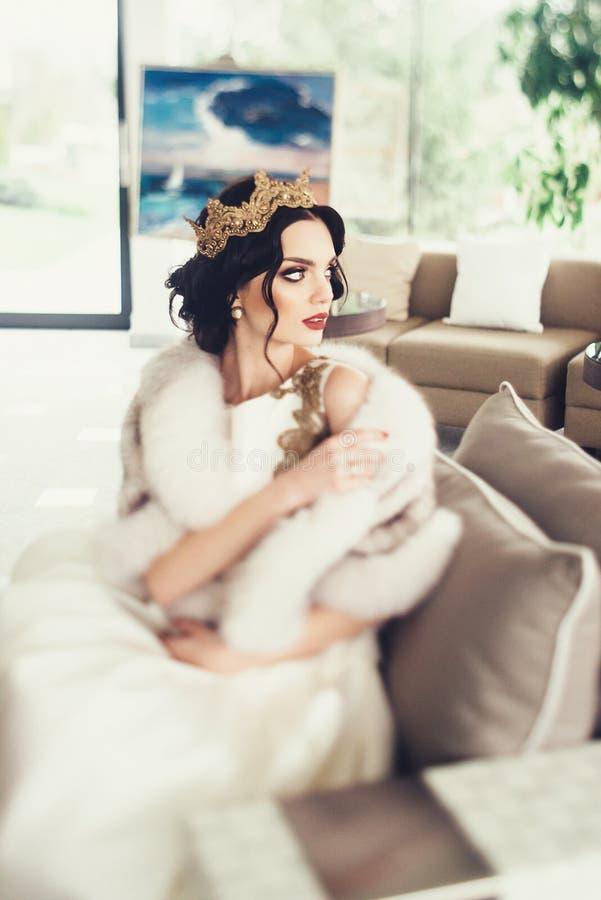Portrait of beautiful bride. Wedding dress royalty free stock image